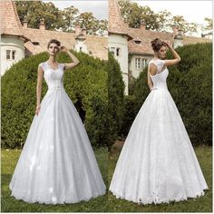 White Cap Sleeve Lace Mermaid Wedding Dress 2015 Romantic Princess Bridal Gown Strapless Tulle Lace on Luulla