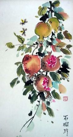 Pomegranates- Poster for the sukkah. many cultures revere these fruits.