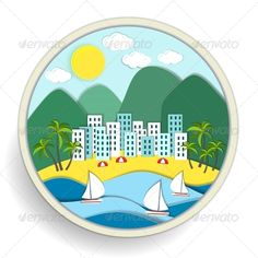 Badge Depicting Holidays at the Sea ...  accommodation, apartments, badge, beach, buildings, coast, holiday, hotel, icon, idyllic, landscape, marine, maritime, mountains, nautical, palm, relaxation, resort, sailboat, sailing, scenic, sea, seashore, seaside, sunshine, travel, trees, tropical, vacation, vector