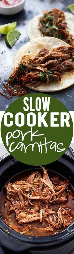 Slow cooker pork carnitas are sooo delicious and easy to whip up in your crockpot! Slow Cooker Pork Carnitas, Crockpot Carnitas Recipes, Recipe For Carnitas, Easy Crockpot Meals For 2, Roast In Crockpot, Crockpot Dishes, Crock Pot Slow Cooker, Crock Pot Cooking, Slow Cooker Recipes