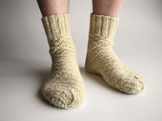 Undyed Unbleached White Hand Knitted Woolen Socks  100 by milleta, €19.00
