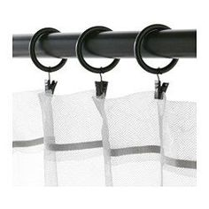 IKEA - SYRLIG, Curtain ring with clip and hook, silver color, , You can hang your curtains with either combination - rings with clips or rings with hooks. No Sew Curtains, Black Curtains, Rod Pocket Curtains, Hanging Curtains, Easy Curtains, Curtain Rings With Clips, Curtain Clips, Curtains With Rings, Recycling