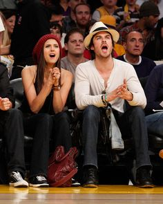 Nina Dobrev and Ian Somerhalder Photo - Celebrities At The Lakers Game
