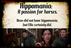 Vocabulary with a SPN twist | #SPNandVocab. | Hippomania: (HIP-oh-MANE-ee-ya) Noun: A passion for horses.