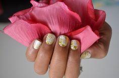 Beautiful nails ~Matte Gold Lace Jamberry Nails