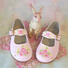 These dainty handpainted shoes from ERAsistible Gifts and Decor are perfect for that summer wedding...  http://www.luulla.com/product/18151/toddler-shoes-maryjanes-pink-roses-size-7-spring-wedding