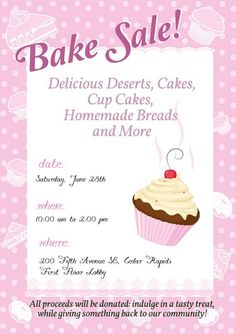 Bake Sale Fundraiser  Free Flyer Template  Piercings