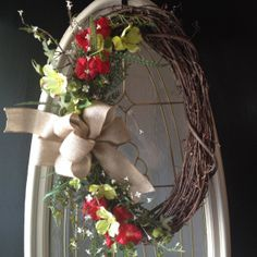 Spring Summer Fall Oval Grapevine Wreath by angiespictureframes, $40.00