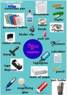 Office supplies #Vocabulary #English #Office