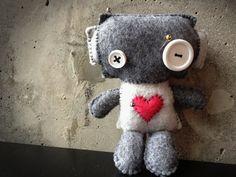 Baby Voodoo Felt & Fleece Robot by tinyrobotfactory on Etsy, $20.00