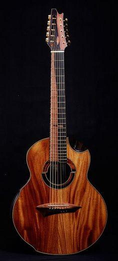 Jeffrey Yong-built acoustic 12-string koa guitar.