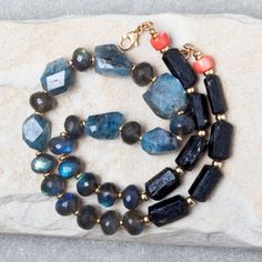 Kyanite, Black Tourmaline, Labradorite Necklace