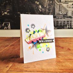 "Neon Superhero Card. Cardstock: Folia (black, white), Heku (neon); stamps: Waltzing Mouse (""Kaboom""), SU (""Gorgeous Grunge""), Joy Crafts (""Grunge""); ink: Hero Arts, Memento."