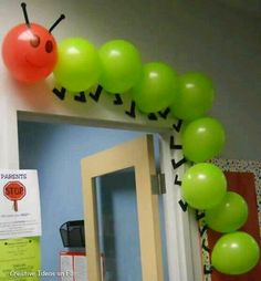 "Using balloons to create a classroom caterpillar is a creative idea. This would be great to use for ""The Very Hungry Caterpillar"" by Eric Carle."