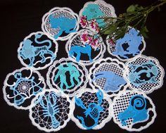 Advanced Embroidery Designs - FSL Battenberg Zodiac Doily Set Isn't this a very cool idea?  I could see me making them for a craft show