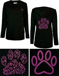 Purple Paw Swirl Lightweight Hooded Tunic at The Animal Rescue Site-$26.95 and funds 28 bowls of food for animals.