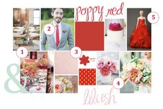 red, blush, inspiration, style, board, wedding, color, palette, pantone, wedding, poppy red