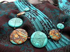 Polymer clay necklace by Katerina Tumova (KatchT).