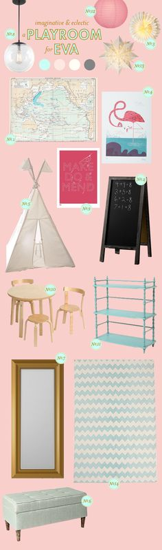"Playroom area for Analiese - so much to love: chalkboard (we have an old door to paint with chalkboard paint), ""make do & mend"" print, various lanterns, mini table and chairs, chevron rug, gold mirror..."