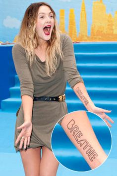 I want this tattoo!! drew-barrymore-with-breathe-ink-on-arm-240bes082010.jpg 240×360 pixels