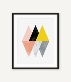 Scandinavian Print, Nordic Wall Art, Geometric Poster, Modern Minimalist Abstract Printable Poster, Triangle, Blush, Yellow, Black, Grey  ◆ INSTANT DOWNLOAD Please note, this is a digital product, saving you delivery time and shipping costs. No physical product will be shipped. Frame and background are not included.  ◆ FILES & SIZES All files are high resolution (300 dpi) ensuring best quality when printed. Includes the most popular sizes and a large jpg file that you can resize to fit i...