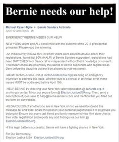 URGENT - HELP BERNIE by checking your New York voter registration @ canivote.org. If anything is amiss, fill out our secure form @ ElectionJusticeUSA.org. Then, send a description of your issue to help@berniesanders.com, and mention that you filled out the form on our website. 50% (HALF!) of Bernie Sanders supporters' registrations had been SWITCHED from Democrat to independent without their knowledge or consent. 1000s of Bernie supporters registered Dem by the deadline but won't be able to…