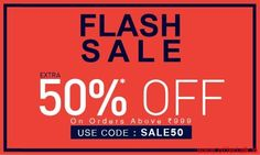 Extra 50% Off on Orders above Rs.999 at Jabong Flash Sale