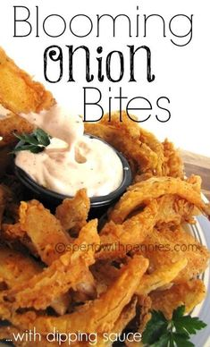 Blooming Onion Bites w/ Dipping Sauce Recipe! (this is much more do-able tha. Blooming Onion B Finger Food Appetizers, Yummy Appetizers, Finger Foods, Appetizer Recipes, Cocktail Party Appetizers, Blooming Onion Recipes, Outback Blooming Onion Sauce, Blooming Onion Dipping Sauce Recipe, Vidalia Onion Recipes
