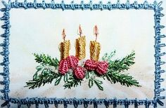 "** ""Christmas Candles"" Brazilian Dimensional  Embroidery Pattern @RosalieWakefield-Millefiori"