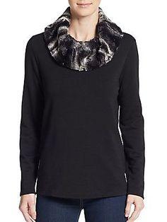 Faux Fur-Cowlneck Sweater