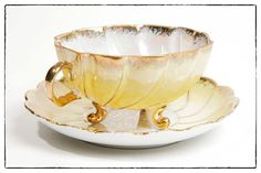 Vintage Iridescent Teacup and Saucer 3 Footed by TheVintageRhino, $20.00