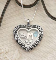 Army Mom Necklace, Army Mom Heart Locket, Personalized Army Necklace, Army Mom Gifts, Letter Birthstone, Army Mom Jewelry, Army Locket