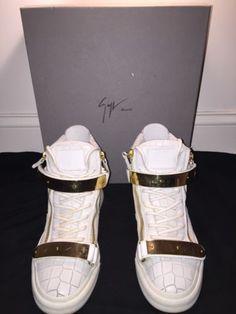 Giuseppe Zanotti White Crocodile Leather Sneakers With Gold Strap Size US 8 EU40