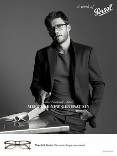 008b5745fd42 Scott Eastwood wears optical frames for Persol s spring-summer 2016  campaign.
