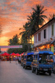 Luang Prabang, Laos  Spent many an evening walking up and down this street and wandering through that night market. Such an incredible place. I would love to go back there!