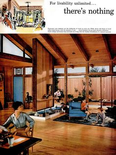 Living room design for the National Lumber Manufacturers Association, 1959 - Carefully selected by GORGONIA www. Mid Century Decor, Mid Century Style, Mid Century House, Mid Century Modern Design, Mid Century Furniture, Mid-century Interior, Modern Interior Design, Interior Ideas, Interior Decorating