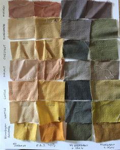 Have a look at Brooke's feed for information on how we dyed this array of tannins with and without alum mordant and iron… Textiles, Natural Dye Fabric, Natural Dyeing, Tinta Natural, Fernanda Yamamoto, Nachhaltiges Design, Color Stories, Shibori, How To Dye Fabric