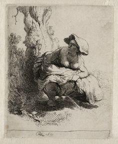 Rembrandt in Teylers Museum: Waterende vrouw (B191)