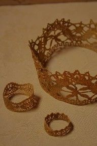 """DIY  :: Easy gold crows - lace, a little paint, and Mod-Podge: voila!  We are all """"Queen of Something"""" right?  Let's make our crowns n wear em!! cw"""