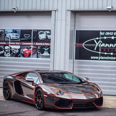 Lamborghini Aventador Coupe painted in Arancio Atlas. It's wrapped in chrome w/ orange accents by @yiannimize on Instagram   Photo taken by: @gumballteam57 on Instagram (He is also the owner of the car)