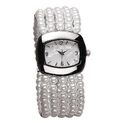 #Faux-pearl stretch bracelet. Silvertone case with pearlized dial. One size fits most. http://llroberts.avonrepresentative.com