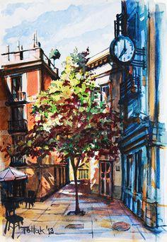 Street in Madrid 2, watercolor, 33x23 cm, 2013