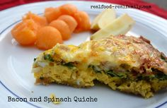 Homemade Bacon and Spinach Quiche with swiss cheese