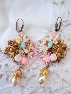 cristal de roses et de boucles d'oreilles vintage st par rosebijoux