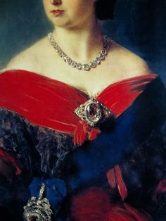 QUEEN VICTORIA, 1856, DETAIL, By Franz Winterhalter, SHOWN WEARING THE KOH-I-NUR DIAMOND AS A BROOCH.