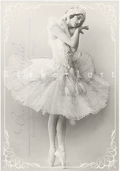 Postcard with Pavlova - an old ballet dancer from russia