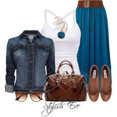 Stylish Eve jean jacket and cobalt skirt with tank top, ballet flats, brown satchel purse, and sunglasses Cute Fashion, Modest Fashion, Fashion Looks, Fashion Outfits, Womens Fashion, Fashion Trends, Female Outfits, Apostolic Fashion, Modest Clothing