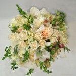 peach ivory rose snapdragon wedding flower bridal party bouquet