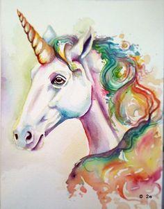 watercolor unicorn tattoo - Google Search