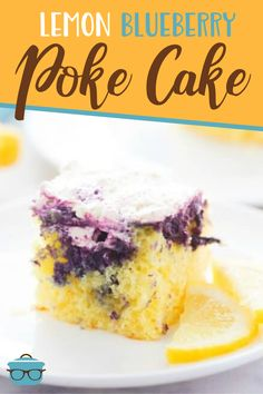 Lemon Blueberry Poke Cake starts with a boxed cake mix and is topped with the most amazing blueberry sauce and a lemon curd whipped topping! Best Grill Recipes, Cooking Recipes, Easy Recipes, Yummy Treats, Delicious Desserts, Yummy Food, Sweet Treats, Poke Cake Recipes, Dessert Recipes